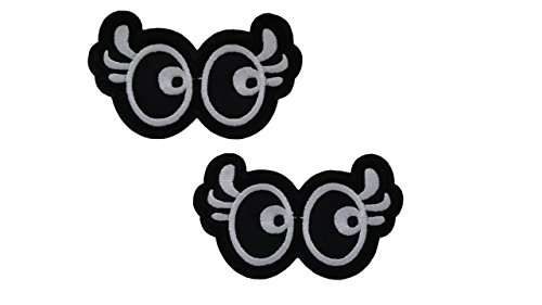 Eye Patch Store (2 pieces Cartoon EYES Iron On Patch Applique Motif Fabric Children Decal Approx. 3.4 x 1.9 inches (8.5 x 4.8 cm))