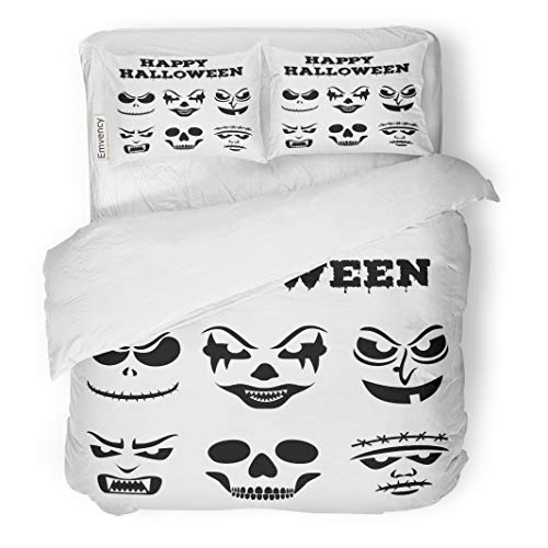 Tarolo Bedding Duvet Cover Set Collection of Halloween Pumpkins Carved Faces Silhouettes Black and White Images Variety Eyes Mouths Noses 3 Piece Queen 90