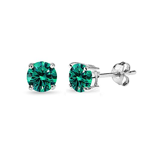 c62b77837 Sterling Silver 5mm Round Bluegreen Stud Earrings created with Swarovski  Crystals