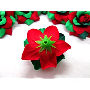 "(100) Silk Christmas Roses Red Green Flower Heads - 1.75"" - Artificial Flowers Heads Fabric Floral Supplies Wholesale Lot for Wedding Flowers Accessories Make Bridal Hair Clips Headbands Dress 5"