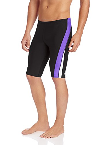 Speedo Men's Endurance+ Launch Splice Jammer Swimsuit, Black/Purple,