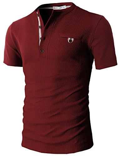 H2H Mens Long Sleeve V-Neck Henley Oil Wash Contrast Seam Vintage Shirt Wine US S/Asia M (CMTTS0147)