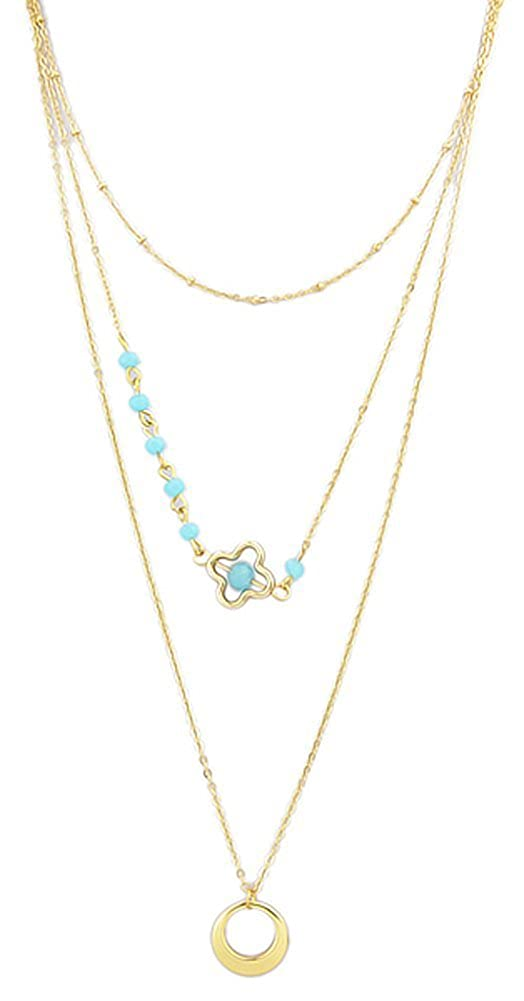 Richy-Glory Gold Chain Blue Bowknot Imitation Gemstone Double Layer