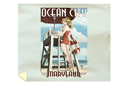 Ocean City, Maryland - Lifeguard Pinup Girl (88x104 King Microfiber Duvet Cover) (Pottery Barn Maryland)