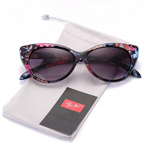 (Pro Acme Cat Eye Sunglasses Clout Goggles Vintage Narrow Style Retro Kurt Cobain Sunglasses (Floral Frame/Grey)