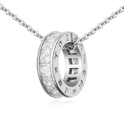 White Crystal Circle Necklace - Sale Circle Pendant Necklace with White Zirconia Crystals 18 ct White Gold Plated for Women 18