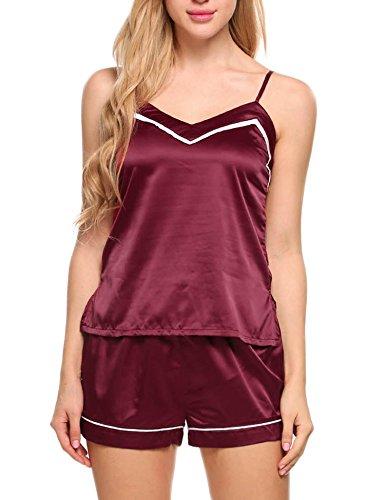 Silk Cami Set - Ekouaer Sleepwear Womens Sexy Lingerie Satin Pajamas Cami Shorts Set Nightwear XS-XXL (Small, 95-Wine Red)
