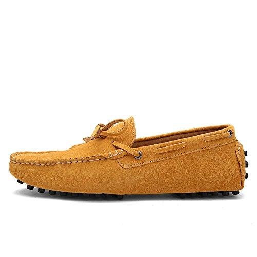 Tentoes Mens Rund Tå Med Rosett Äkta Läder Loafers Gul