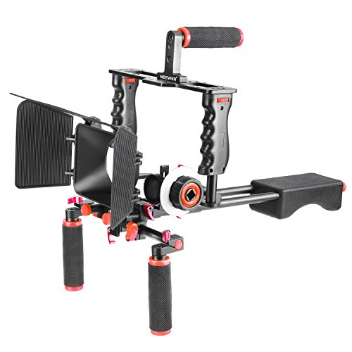Neewer Aluminum Alloy Film Movie Kit System Support Rig for Canon Nikon Sony DSLR Cameras, Includes:(1)Video Cage,(1)Top Handle Grip,(2)15mm Rod,(1)Matte Box,(1)Follow Focus,(1)Shoulder Rig(Red+Black) Camera Support System