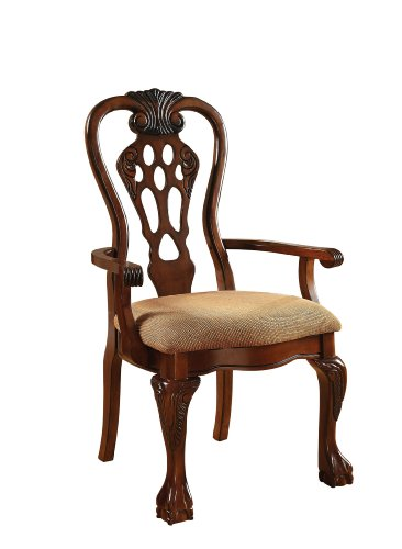 Furniture of America Lissenia Formal Arm Chair, Cherry Finish, Set of 2