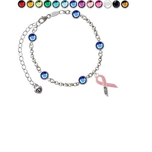 Pink Ribbon ''Help'' Custom Crystal Color Fiona Charm Bracelet