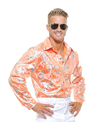 Charades Men's Disco Shirt, Tangerine, X-Large