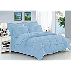 Elegant Comfort Wrinkle Resistant - Silky Soft Dobby Stripe Bed-in-a-Bag 8-Piece Comforter Set -HypoAllergenic - King Light Blue