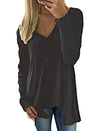 Women Winter V-Neck Tunic Knit Plus Size Pullover Sweater Top