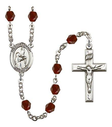 January Birth Month Prayer Bead Rosary with Saint Bernadette Centerpiece, 19 Inch