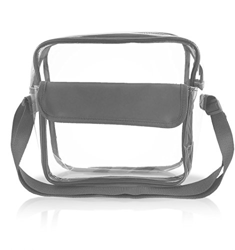 Stadium Approved Clear Messenger Bag/Large 10 Inches Cross Shoulder/Event Security Compliant/Transparent (Gray)