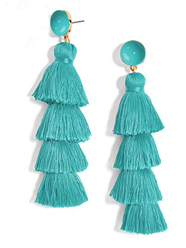 New Trend Beautiful Stud Teal Tassel Earrings for Women Set, Cute Earrings for Graduation pom and Everyday wear (Teal)