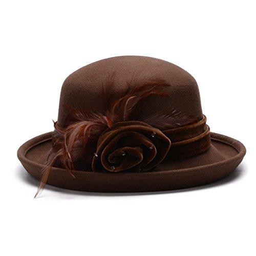 Lawliet Womens Bowler Feather Velvet Flower Wool Felt Church Wedding Hat A467 (Camel) (Beaded Satin Hat)