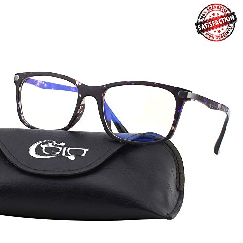 (CGID CT46 Premium TR90 Frame Blue Light Blocking Glasses,Anti Glare Fatigue Blocking Headaches Eye Strain,Safety Glasses for Computer/Phone/Tablet,Rectangle Flexible Unbreakable Frame,Transparnet Lens)
