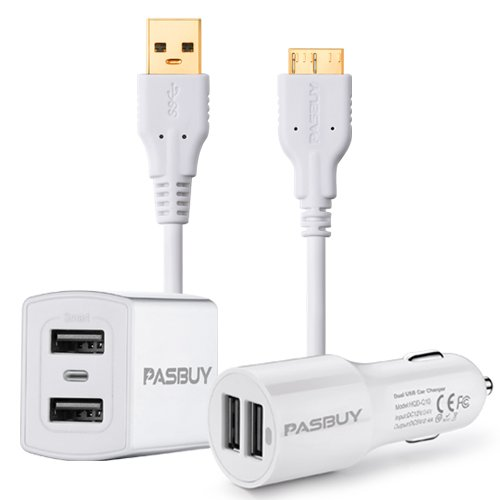 PASBUY ft 3 en 1 Pared 2,4 un cargador USB Dual + 2.4 A Dual