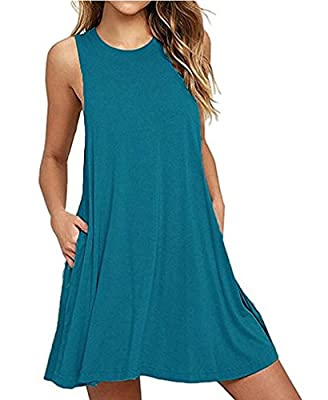 Mljsh Women's Summer Sleeveless Casual Swing T-Shirt Loose Dresses with Pockets