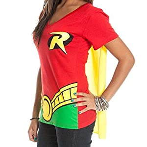 DC Comics Robin V-Neck Caped Tee Juniors Costume