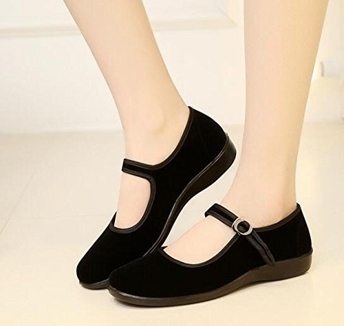 Ballerina Flats Shoes Cotton Black Sole Ethnic Shoes Women Lady Style Velvet Work p7WqwS