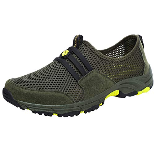 (Men's Breathable Sports Shoes TANGSen Leisure Fashion Outdoor Mesh Slip-On Casual Hiking Platformed Single Shoes Green)