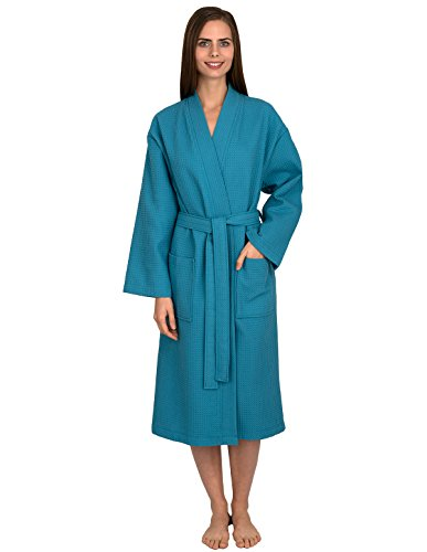 TowelSelections Turkish Bathrobe Waffle Kimono Robe for Women and Men X-Small/Small Blue Moon