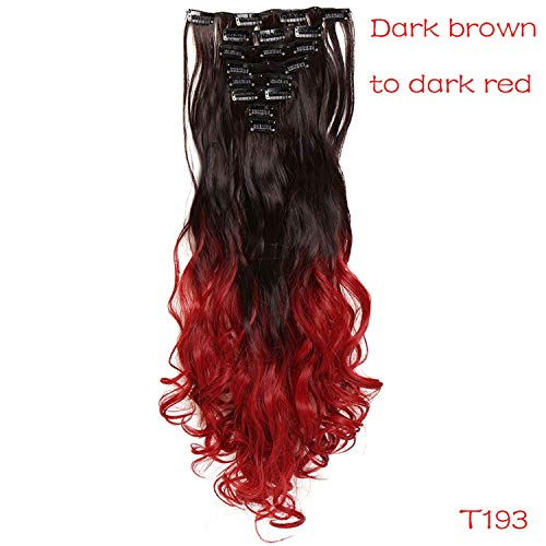 24inch 8pcs/set curly 18 Clips in False Hair