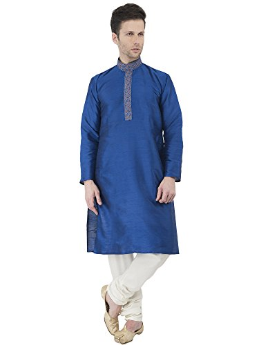 Indian Kurta Pajama Handmade Long Sleeve Button Down Shirt Traditional Blue Summer Dress -L by SKAVIJ