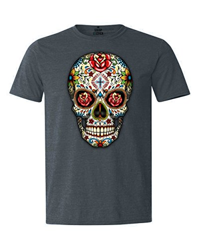 Shop4Ever Sugar Skull Red Roses T-Shirt Day of The Dead Shirts Large Heather Navy16553 ()