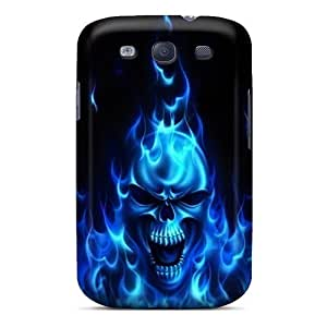 Excellent Custom Blue Flaming Skull Tpu Case Cover Galaxy S3 Cover Case