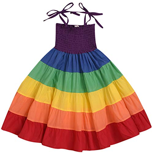 Toddler Little Girls Rainbow Dress Kid Baby Girl Summer Outfit Halter Beach Colorfull Sundress (4T / 3-4 Years Old, Iridescent Color #2) ()