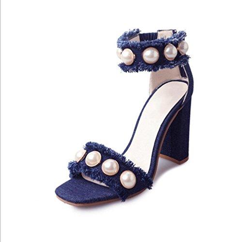 cingulate della selvatici scarpe aperte punta La con casuali esterna tacco sandali in spiaggia blue da deep signora parola usura crosta spessa di Sandali nwqpaAx