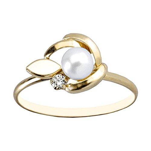 Bague Or 18k perle de feuille lisse 4mm. zircone cultivé [AA6857]