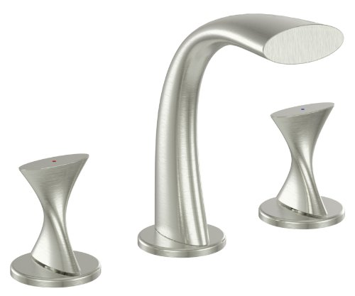 Ultra Faucets UF55513 Twist Collection Two-Handle Widespread Bathroom Sink Faucet, Brushed Nickel