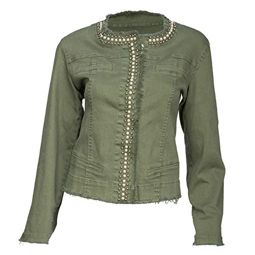 (Arianna by Howard's Women's Embelished Green Suede Denim Style Jacket (L/XL))