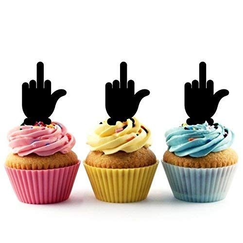 Funny Middle Finger Silhouette Acrylic Cupcake Toppers 12 pcs ()