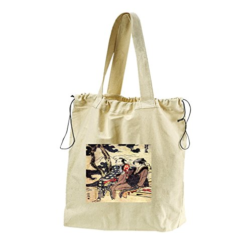 Traveling Couple (Hokusai) Canvas Drawstring Beach Tote Bag by Style in Print