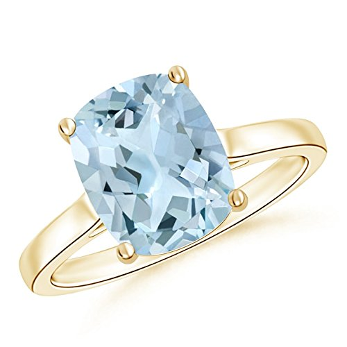 Classic Cushion Cut Aquamarine Solitaire Engagement Ring for Women in 14K Yellow Gold (10x8mm Aquamarine)