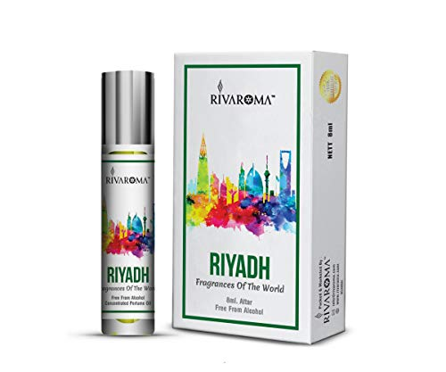 Rivaroma Fragrances Roll on Concentrated Perfume Oil UniSex Real & Natural Attar For Men and Women, 100% Alcohol Free & Long Lasting Attar Each 8ml (Riyadh) + ( ONE SANITIZER PEN FREE )