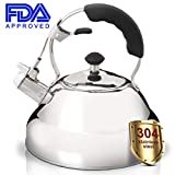 Tea Kettle Stovetop Whistling 304 Stainless Steel Premium Sturdy Teapot for Stovetop Medium Fast Heating with 3-Layered Bottom 2.6 L/2.75 QT