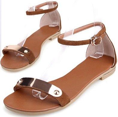 Women's Brown Leather Sandal Flat Laruise zBdwxTq1z