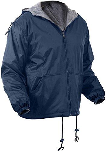 Bellawjace Clothing Navy Blue Reversible Fleece Lined Jacket Military Hooded Nylon Coat