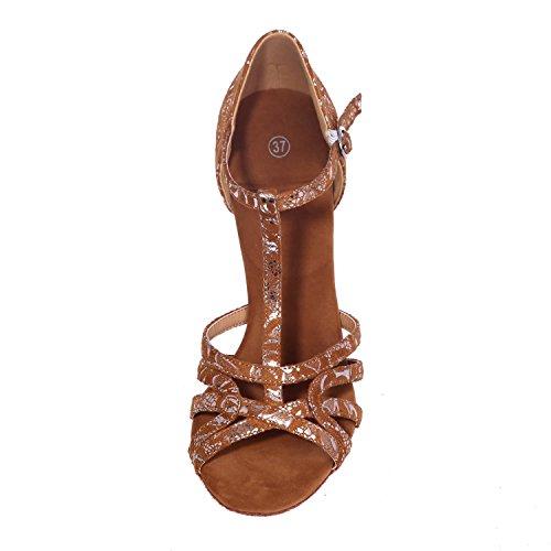 L@YC Zapatillas De Baile Latino Para Mujer Correas Interiores De Seda Tacones Finos Tacones altos Negro / Dorado / MarróN Gold