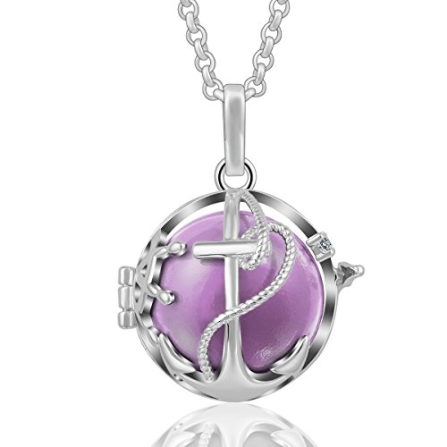 AEONSLOVE Crystal Anchor Pendant Necklace Silver Harmony Bola Chime Bell