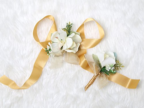 m Wrist Corsage Mokara Orchids and Boutonniere Set (Gold theme) (Orchid Wrist Corsage)