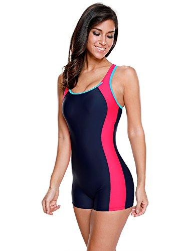 LookbookStore Women's Colorblock Racerback Cutout Racing One Piece Swimsuit