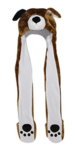 People Dog Costume (Bioterti Plush Novelty Animal Hat 3 in 1 Beanie With Long Paw Scarf, Mitten Combo (Brown)